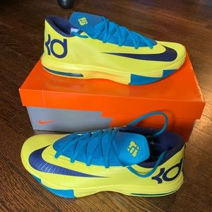 NIKE KD VI 6 SONIC YELLOW-NAVY BLUE-TEAL SZ 11.5